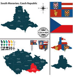 map of south moravian czech republic vector image vector image