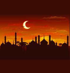 Moon in night sky over mosque ramadan kareem vector