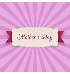 Mothers Day Text on greeting Card with Ribbon vector image