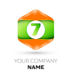 number seven logo in the colorful hexagonal vector image