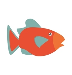 Orange fish marine ecosystem life vector