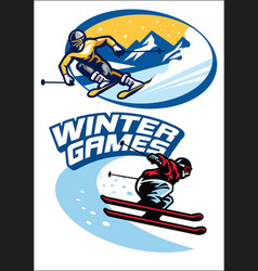 set of skiing sport badge vector image