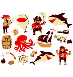 set with pirate and shark characters vector image vector image