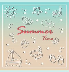 Summer holiday doodles summer icon set vector