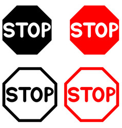 Symbol stop black and red color vector