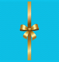 Tied gold bow with ribbon in center of blue vector