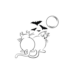 Two fat black cats over moonlight scetch vector