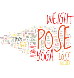 Yoga for weight loss text background word cloud vector