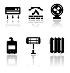 heating and cooling icons vector image