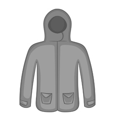 Mens winter jacket icon black monochrome style vector