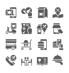 Restaurant food ordering on line icons vector