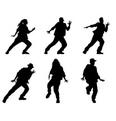 Six dancing teenagers vector
