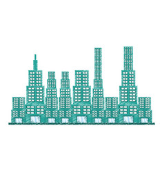 drawing building modern structure vector image