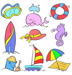 Collection stock of holiday object doodles vector