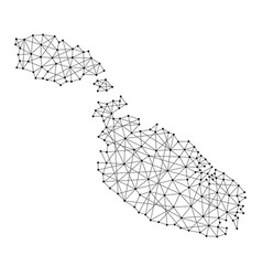 Map of malta from polygonal black lines and dots vector