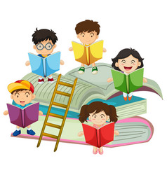 Many children reading books vector