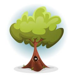 Funny bird or squirrel nest inside tree trunk vector