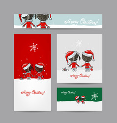 couple in love together christmas card for your vector image