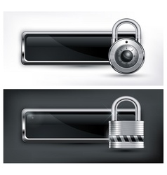 Padlock icon on black white vector
