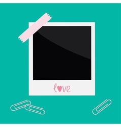 Instant photo with tape and paperclips love card vector