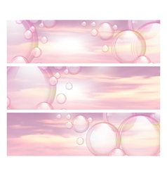 Sky and bubbles banners vector