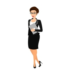 Business woman wearing black suit vector