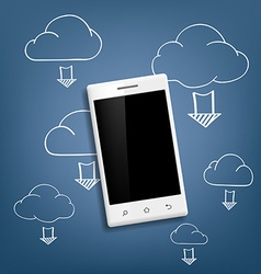 smartphone and cloud data storage vector image