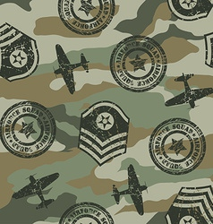 Military badges seamless pattern vector image