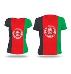 Flag shirt design of afghanistan vector