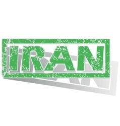 Green outlined iran stamp vector