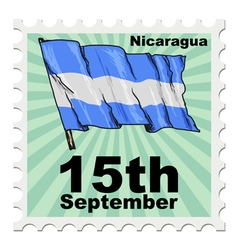 Post stamp of national day of nicaragua vector