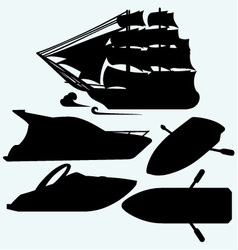 Wooden boat with paddles sailing ship and luxury vector