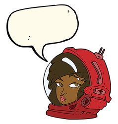 Cartoon female astronaut with speech bubble vector