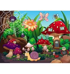 Insects living together in the garden vector
