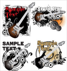 Grunge music banner - set vector image