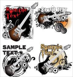Grunge music banner - set vector image