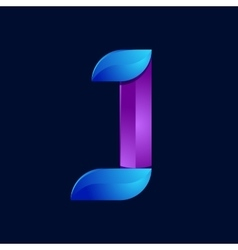 J letter volume blue and purple color logo design vector
