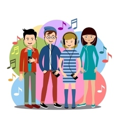Modern people listen to music on gadgets vector