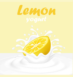 A splash of yogurt from a falling lemon and drops vector