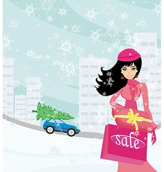 beautiful woman doing the shopping in winter vector image