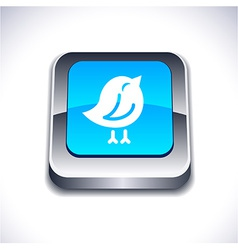 Bird 3d button vector