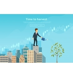 Businessman watering money tree from watering can vector image