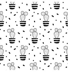 Cactus plant in a pot seamless pattern vector