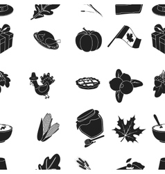Canadian thanksgiving day pattern icons in black vector