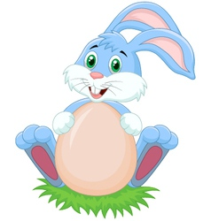 Cartoon rabbit with egg vector image