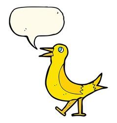 Cartoon walking bird with speech bubble vector