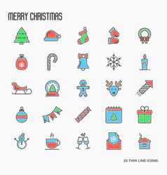 Christmas decoration thin line icons set vector