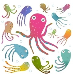 Colorful octopus isolated on white cartoon clip vector