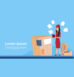 Courier woman use tablet box delivery package post vector