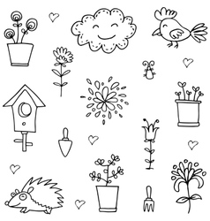 Doodle of spring cloud flower set vector